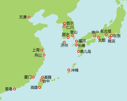 日韩航线图