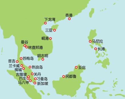 东南亚航线图